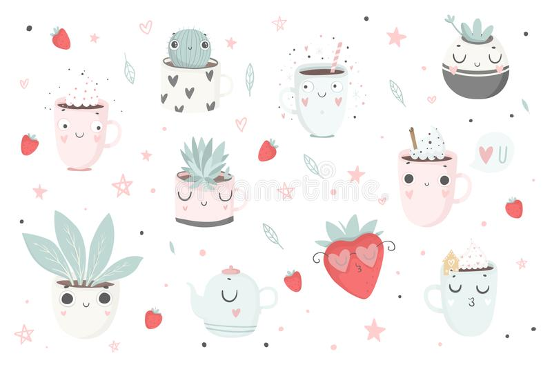 Śliczne rośliny, filiżanki i truskawka, odizolowywali ilustrację dla dzieci ilustracja wektor