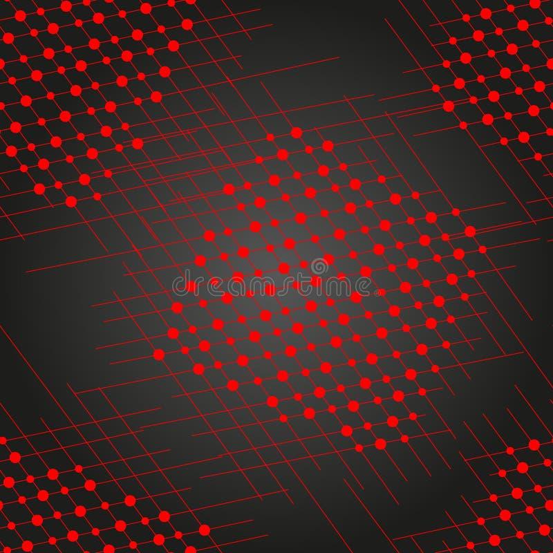 Śliczne rocznik czerwone linie i czerwień okręgi na czarnym tle ilustracja wektor