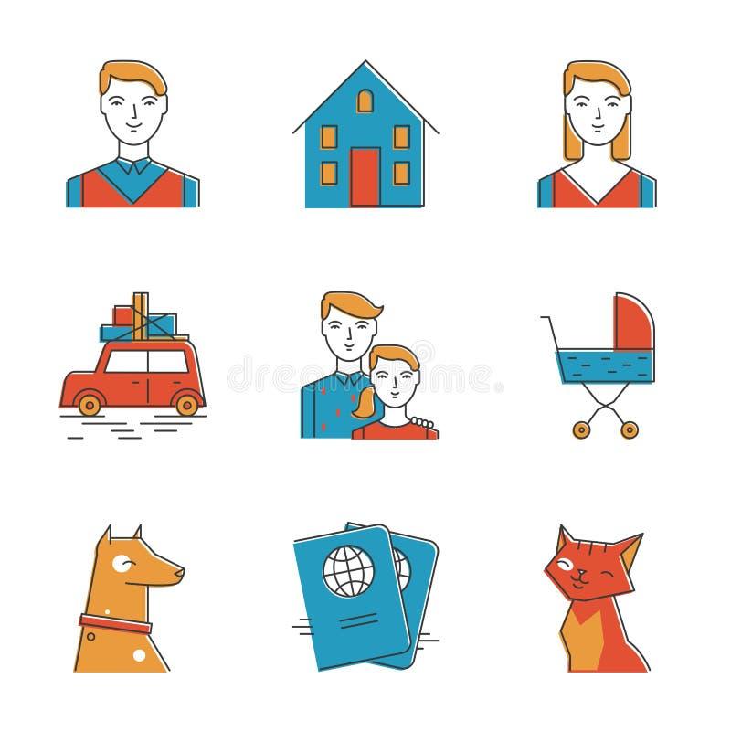 Śliczne rodzinnej linii ikony ustawiać royalty ilustracja