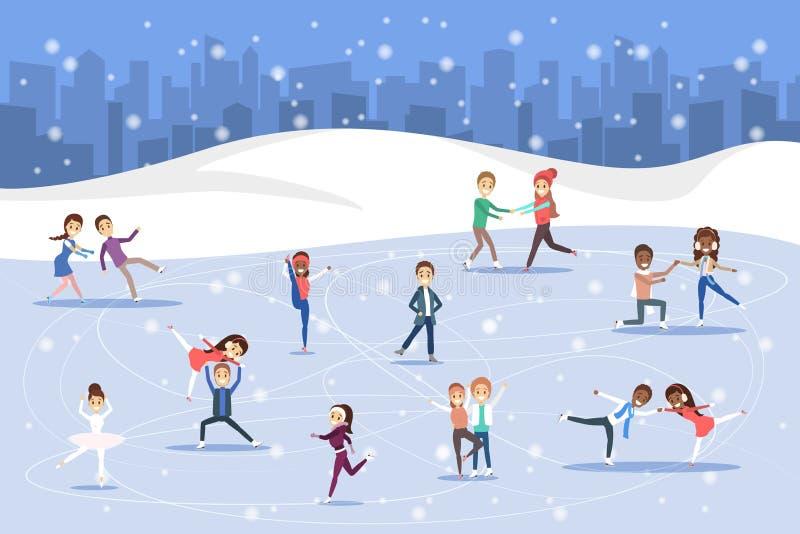 Śliczne romantyczne pary jeździć na łyżwach wpólnie outdoors Zimy aktywność ilustracja wektor