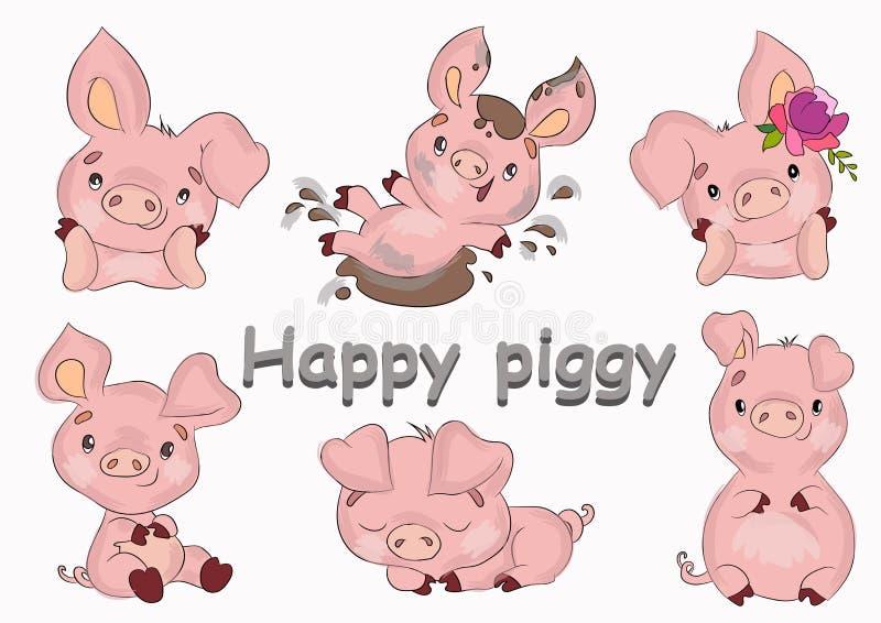 Śliczne rozochocone małe różowe świnie ustawiać ilustracji