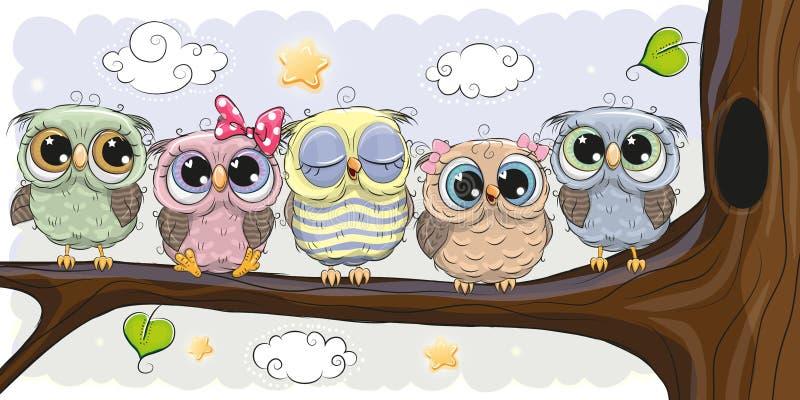 Śliczne sowy siedzą na śniadanio-lunch royalty ilustracja