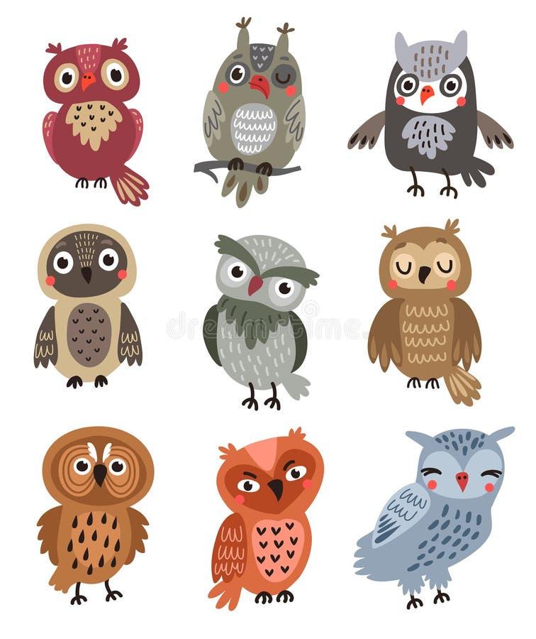 Śliczne sowy Ustawiać wektorowi ptaki ilustracji