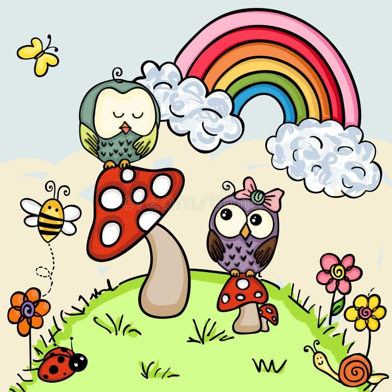 Śliczne sowy w lesie ilustracji