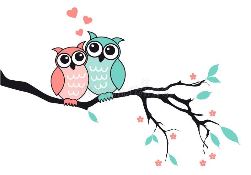 Śliczne sowy w miłości, wektor ilustracja wektor