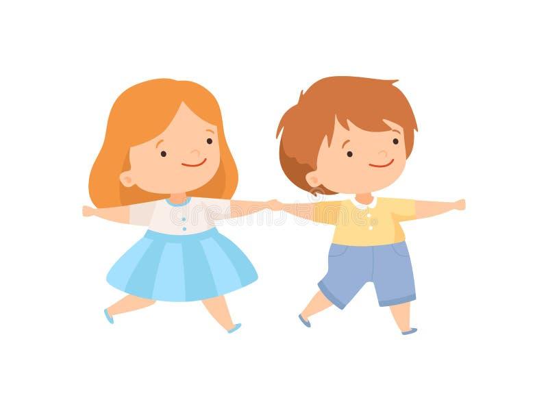 Śliczne Szczęśliwe chłopiec i dziewczyny mienia ręki, para Uroczy dzieciaki Ma zabawy kreskówki wektoru ilustrację Wpólnie royalty ilustracja