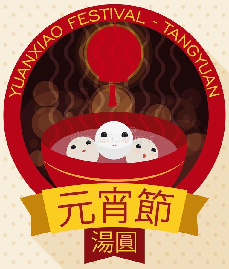 Śliczne Tangyuan piłki Przygotowywać dla Yuanxiao lub Latarniowego festiwalu, Wektorowa ilustracja royalty ilustracja