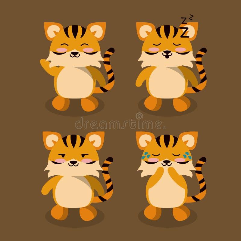 Śliczne tygrysie ikony royalty ilustracja