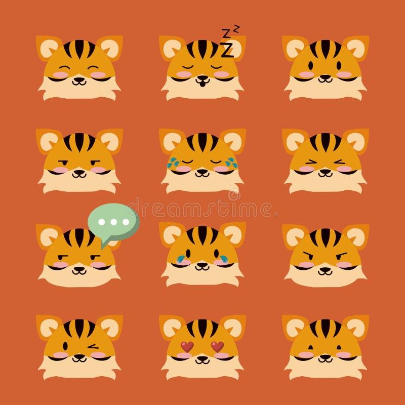 Śliczne tygrysie ikony ilustracji