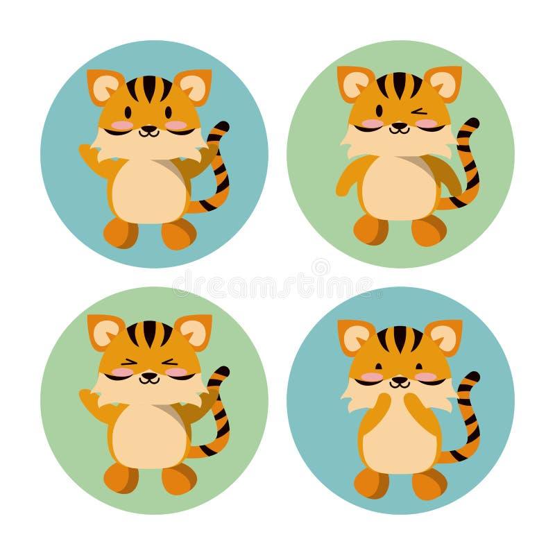 Śliczne tygrysie ikony ilustracja wektor