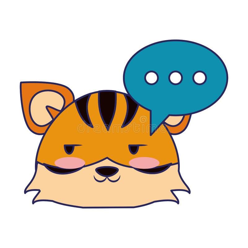 Śliczne tygrysie zwierzęce kreskówek niebieskie linie ilustracji