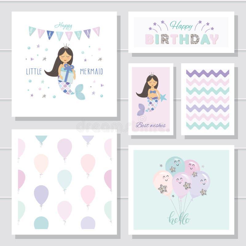 Śliczne urodzinowe karty ustawiać dla dziewczyn Mali syrenek postać z kreskówki Z błyskotliwość elementami ilustracji
