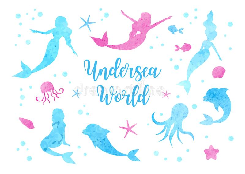 Śliczne ustalone akwareli sylwetki syrenka, delfin, ośmiornica, ryba i jellyfish, Podwodna Światowa kolekcja ilustracja wektor