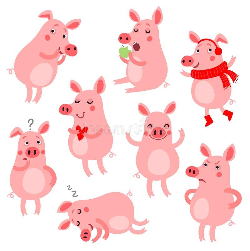 Śliczne Wektorowe świnie ilustracja wektor