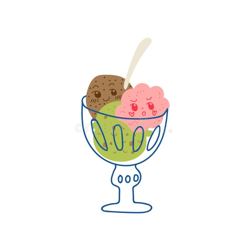 Śliczne Wyśmienicie lody piłki w Szklanym pucharze, Uroczy Kawaii Słodki deser z Śmieszną twarz wektoru ilustracją ilustracji