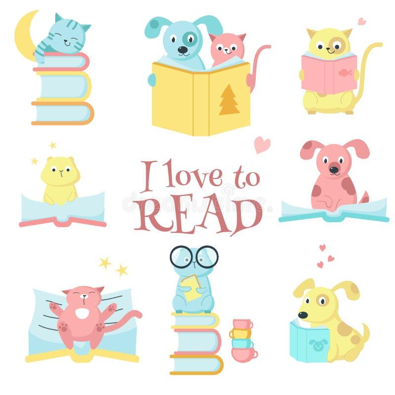 Śliczne zwierząt domowych zwierząt czytelnicze książki wektorowy ikona set ilustracja wektor