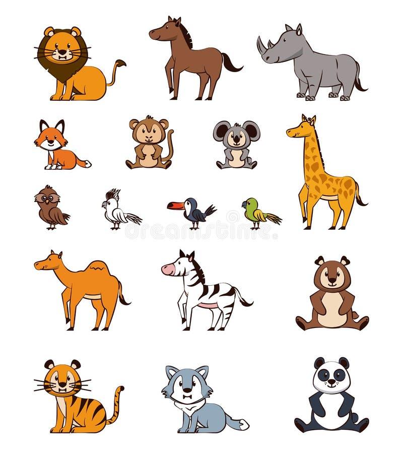 Śliczne zwierzę kreskówek ikony royalty ilustracja