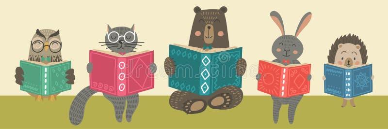 Śliczne zwierzęcia readimg książki ilustracja wektor