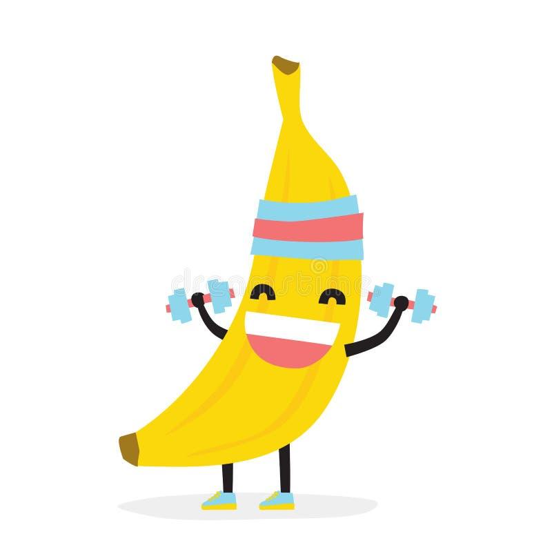 Ślicznego śmiesznego kawaii bananowy bodybuilder odizolowywał wektorową ilustrację royalty ilustracja