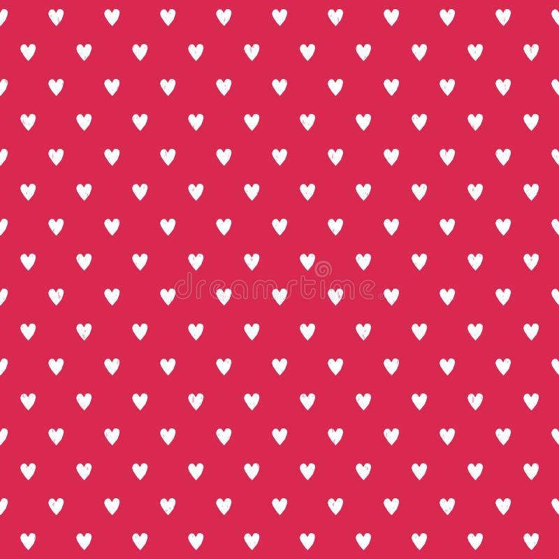 Ślicznego bezszwowego tła biali serca na czerwieni ilustracja wektor