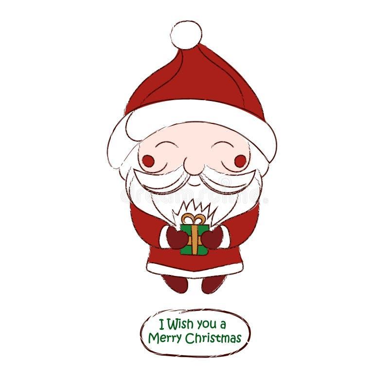 Ślicznego chibi Święty Mikołaj wektorowa rysunkowa karta ilustracji