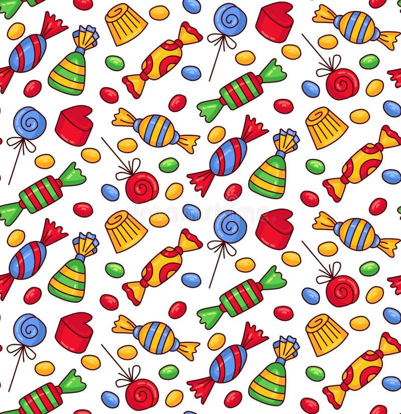 Ślicznego cukierki cukierku wektoru kolorowy bezszwowy wzór ilustracja wektor