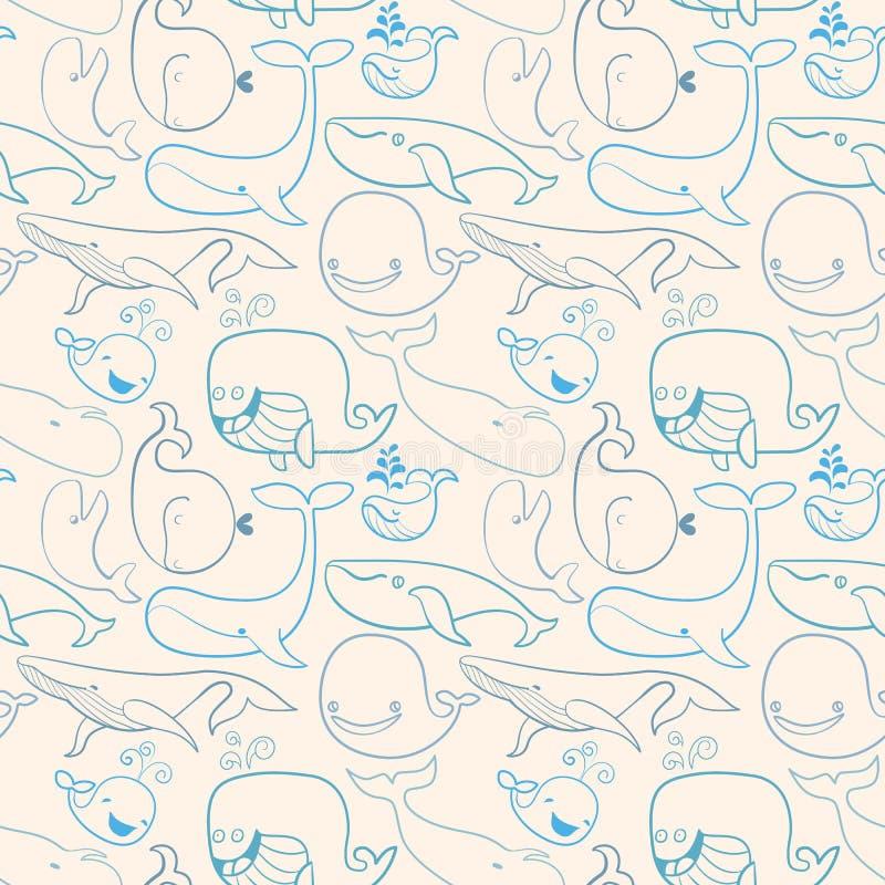 Ślicznego doodle Błękitni wieloryby bezszwowy tło żołnierz piechoty morskiej ilustracja wektor