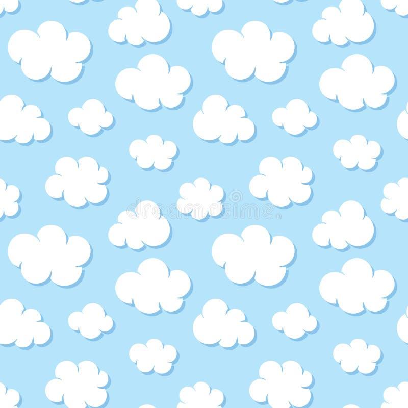 Ślicznego dziecka bezszwowy wzór z niebieskim niebem z bielem chmurnieje płaskie ikony Chmurna pogoda Obłoczny symbolu tło dla dz ilustracji
