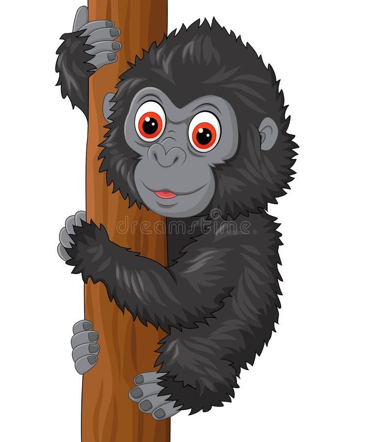 Ślicznego dziecko goryla wspinaczkowy drzewo ilustracja wektor
