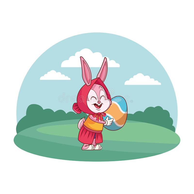 Ślicznego Easter królika świętowania mienia natury tła round jajeczna rama royalty ilustracja