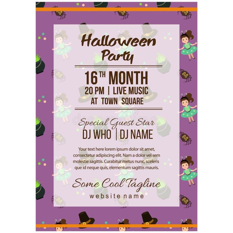 Ślicznego Halloween przyjęcia szablonu plakatowy obcy żartuje kostium ilustracja wektor