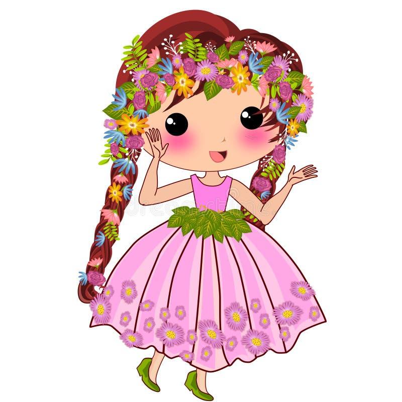 Ślicznego hawajczyka princess kwiecista kreskówka ilustracji