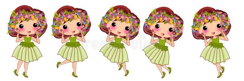 Ślicznego hawajczyka princess kwiecista kreskówka ilustracja wektor