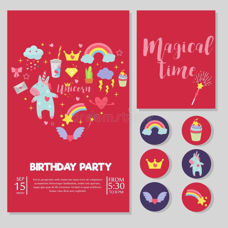 Ślicznego jednorożec dziecka przyjęcia urodzinowego karty tęczy fantazi wektorowego ilustracyjnego magicznego czarodziejskiego pr ilustracji