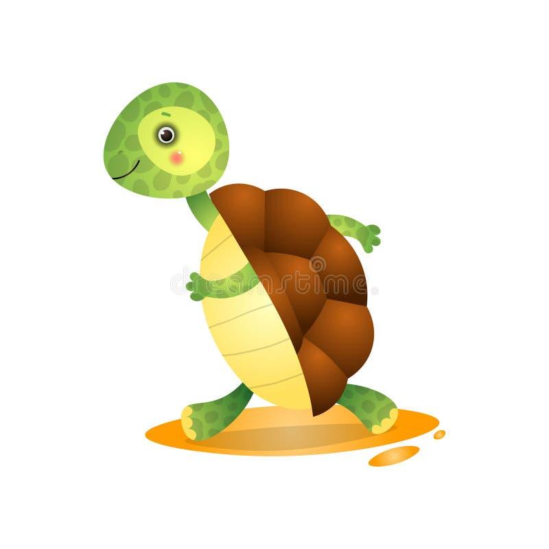 Ślicznego kawai żółwia działający daleko od śpieszyć odizolowywam na białym tle ilustracji