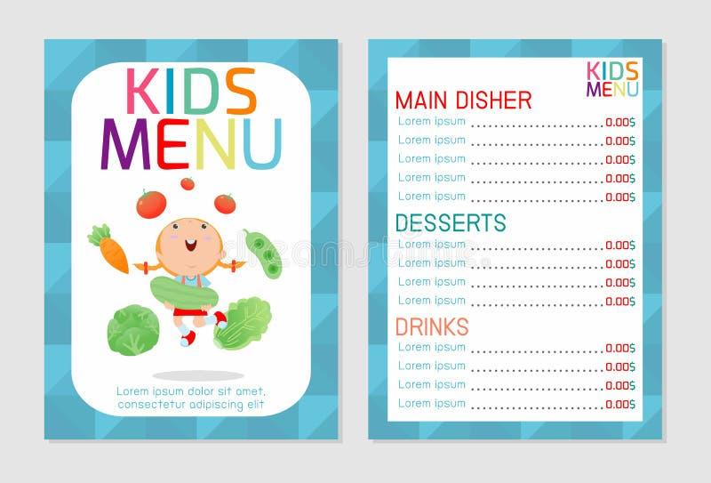 Ślicznego kolorowego dzieciaka posiłku menu wektorowy szablon, dzieciaka menu, Śliczny kolorowy dzieciaka posiłku menu projekt royalty ilustracja