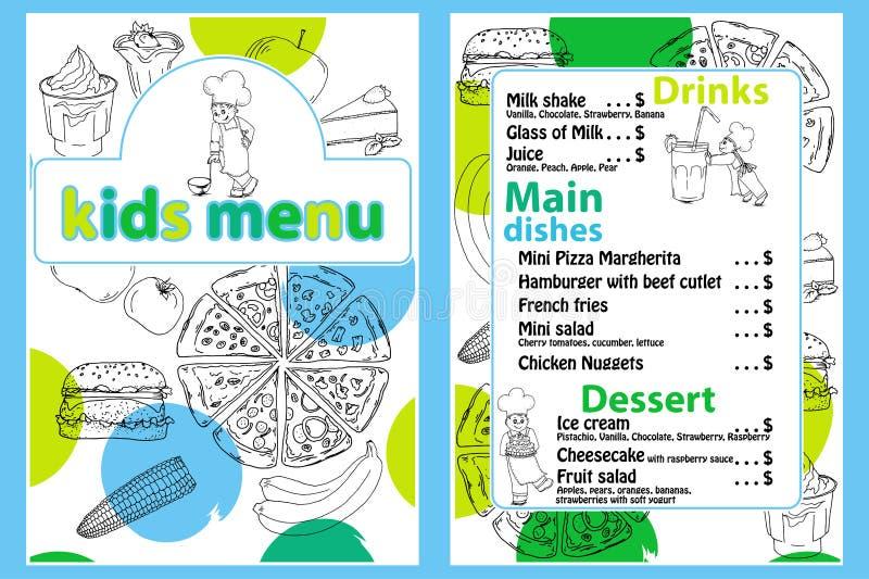 Ślicznego kolorowego dzieciaka posiłku menu wektorowy szablon z śmieszną kreskówki kuchni chłopiec Różni typ naczynia na ręce rys ilustracja wektor
