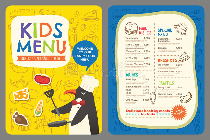 Ślicznego kolorowego dzieciaka posiłku menu wektorowy szablon z pingwin kreskówką ilustracja wektor