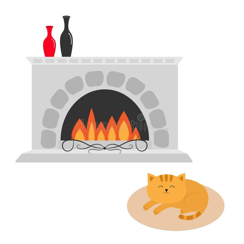 Ślicznego kota łgarski dosypianie na owalnej dywanowej dywanik macie postać z kreskówki śmieszne Graba z waza setem płonący ogień royalty ilustracja