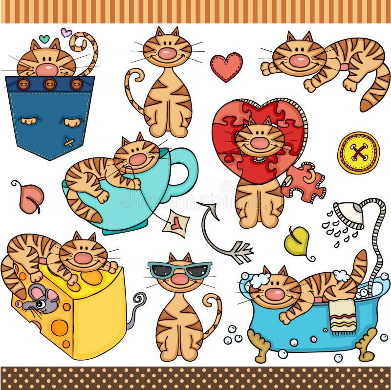 Ślicznego kota ustaleni cyfrowi elementy royalty ilustracja