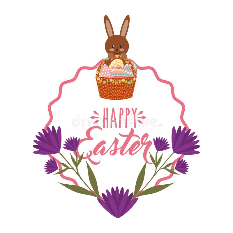 Ślicznego królika jajek purpur koszykowi kwiaty i ramowa dekoracja royalty ilustracja