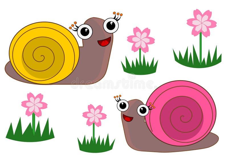 Ślicznego kreskówka ślimaczka odosobnione ilustracje ilustracji