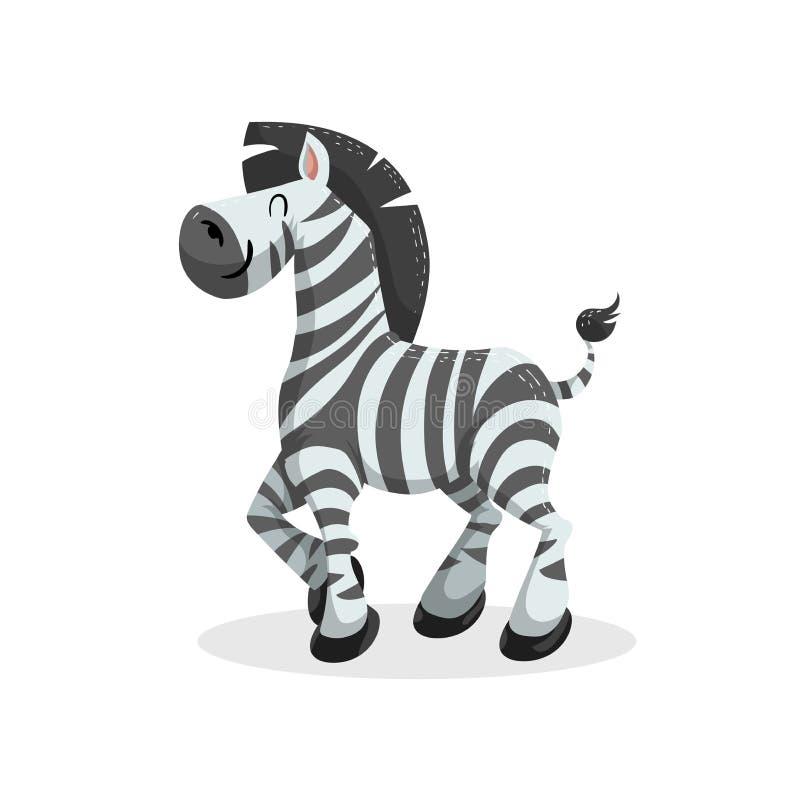 Ślicznego kreskówka modnego projekta rozochocona zebra Afrykanina lub safari zwierząt przyrody wektoru ilustracja royalty ilustracja