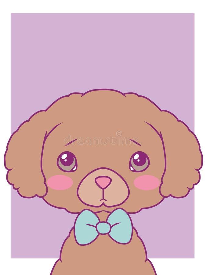 Ślicznego kreskówka stylu sztuki druku wektorowy motyw z pastelem barwił zabawkarskiego pudla psa z bowtie ilustracji