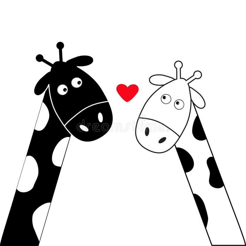 Ślicznego kreskówki czerni żyrafy dziewczyny i chłopiec biały serce Camelopard para na dacie Śmieszny charakter - set długa szyi  ilustracji