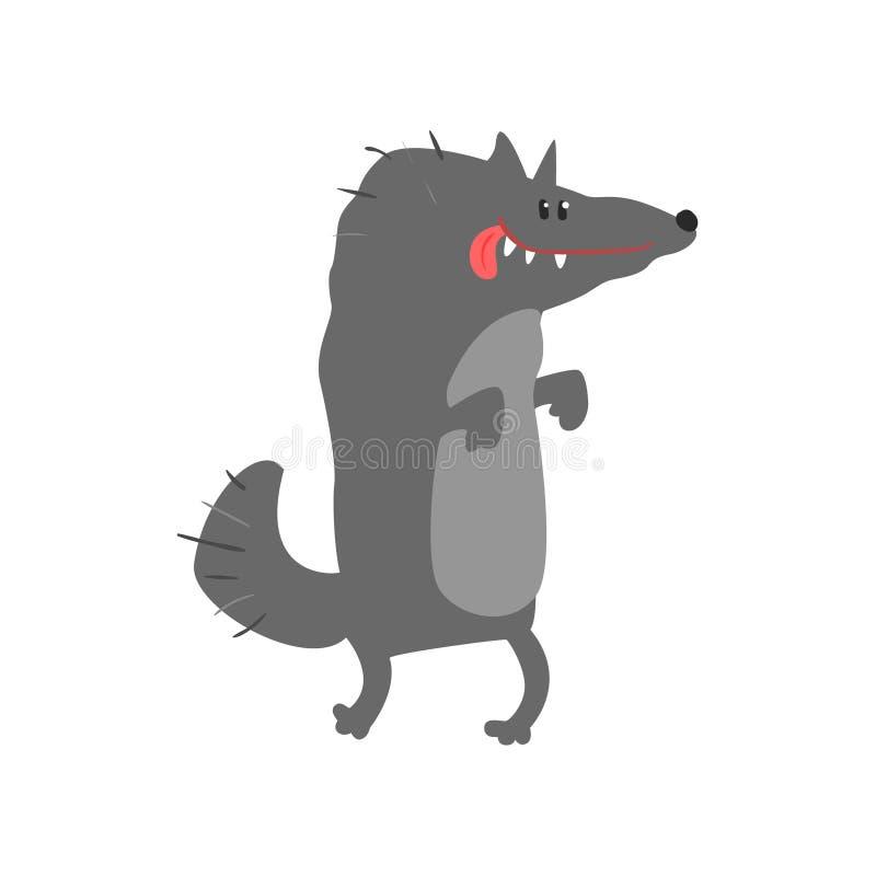 Ślicznego kreskówki wilczego wszystkiego najlepszego z okazji urodzin kolorowa wektorowa ilustracja ilustracja wektor