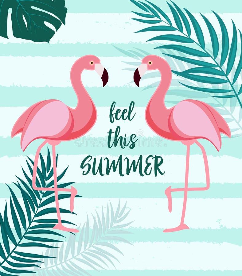 Ślicznego lata Abstrakcjonistyczny tło z Różowym flamingiem Czuje ten lato również zwrócić corel ilustracji wektora ilustracja wektor