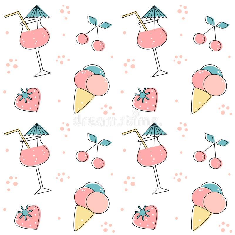Ślicznego lata wektoru wzoru tła bezszwowa ilustracja z napojami, truskawkami, wiśniami i lody koktajlu, ilustracja wektor