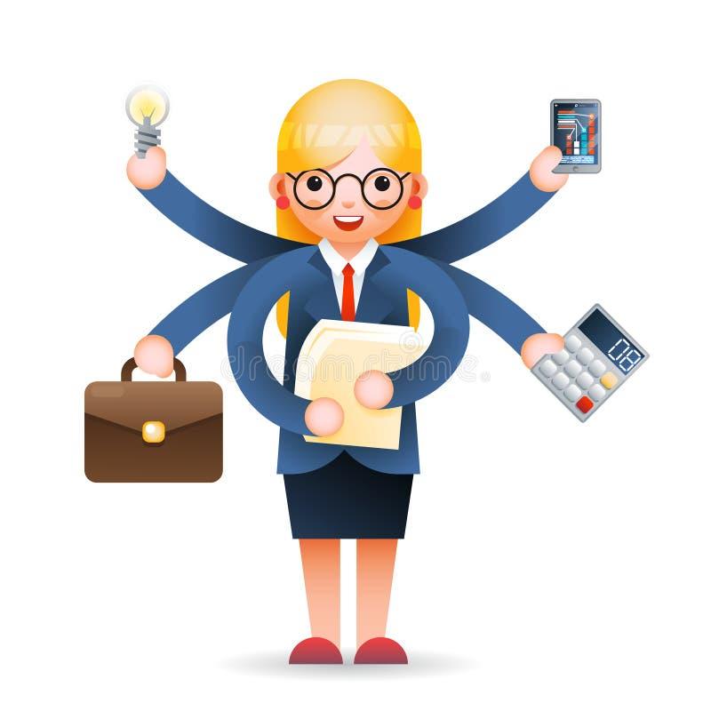 Ślicznego młodego bizneswomanu zarządzania postaci z kreskówki wektoru multitasking fachowa wydajna biurowa ilustracja ilustracji