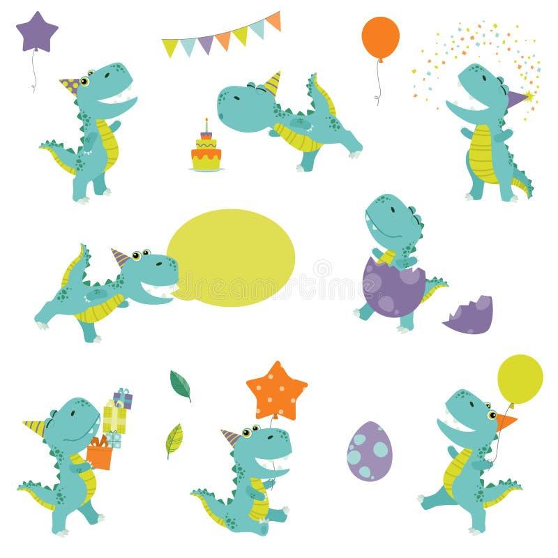 Ślicznego Małego Śmiesznego Kolorowego kreskówki T Rex dinosaura przyjęcia urodzinowego Ustalonego Płaskiego koloru Wektorowa ilu ilustracja wektor